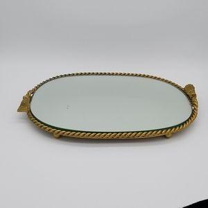 Vintage Brass Rope & Tassel Vanity Mirror Tray